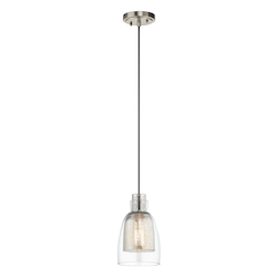 Brushed Nickel Evie Mini Pendant With Mercury Glass