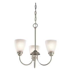 Brushed Nickel Jolie Chandelier With 3 Lights - 18 Inches Wide