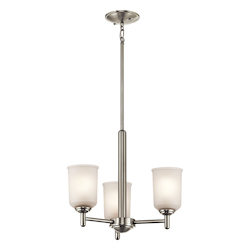 Brushed Nickel Shailene Chandelier With 3 Lights - 18In. Wide