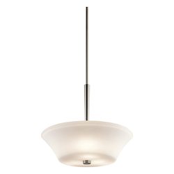 Brushed Nickel Aubrey 3 Light Pendant Light With Etched Opal Glass Shade