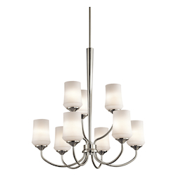 Brushed Nickel Aubrey Chandelier With 9 Lights - 31 Inches Wide