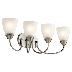 Brushed Nickel Jolie 8In. Wide 4 Light Bathroom Vanity Light