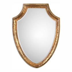 Heavily Antiqued Gold With Oxidized Silver Champagne Lumarzo 35in. x 26in. Wall Mirror