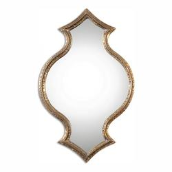 Antiqued Gold With Light Gray Glaze Bagara 30in. x 19in. Wall Mirror