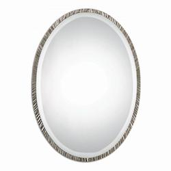 Plated Polished Nickel Annadel Oval Beveled Metal Frame Mirror