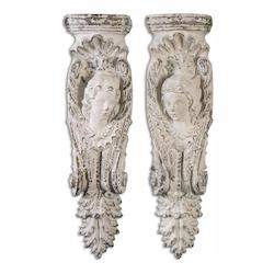 Uttermost Angelic Stone Ivory Shelves, S/2 - 297769