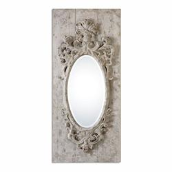 Uttermost Guardia Gray-Ivory Oval Mirror - 297787