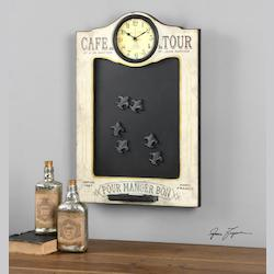Cafe de la Tour Chalkboard and Clock - 297796