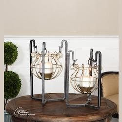 Quinlin Black and Gold Candleholders S/2 - 297810