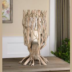 Ugo Natural Wood Candleholder - 297824