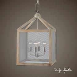 Nashua 4 Light Wooden Lantern Pendant - 297889