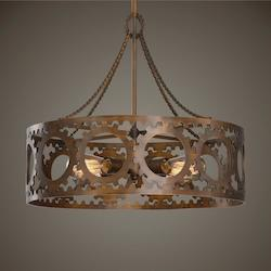 Antrim 4 Light Bronze Drum Pendant - 297899
