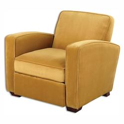 Sunny Aztec Gold Somac Fabric Chair Designed by Jim Parsons