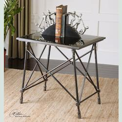 Collier Black Glass End Table - 297969