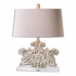Heavily Distressed Ivory Stone Wash Schiavoni 1 Light Table Lamp