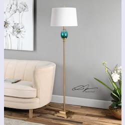 Cavaillon Blue-Green Glass Floor Lamp - 298171
