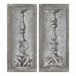 Uttermost Antique Ornate Candlesticks Vintage Art, S/2 - 298265