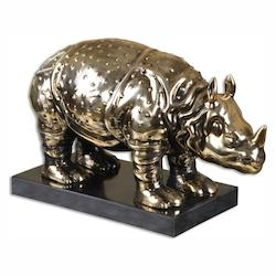 Heavily Antiqued Champagne Rhino Sculptural Object