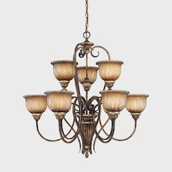 Nine Light Brown Up Chandelier - 298514