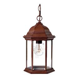 One Light Burled Walnut Hanging Lantern