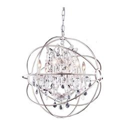 Polished Nickel 6 Light Geneva Pendant With Royal Cut Crystals