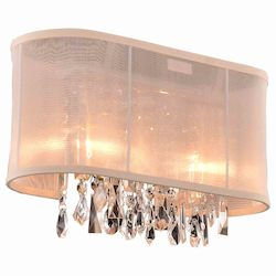 Crystal Fusion Design 2 Light 15'' Wall Sconce with European Crystals and Organza Shade SKU# 85005