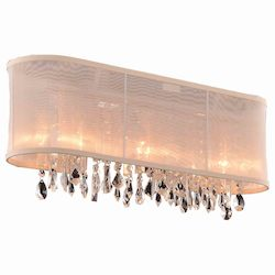Crystal Fusion Design 3 Light 23'' Wall Sconce with European Crystals and Organza Shade SKU# 85006