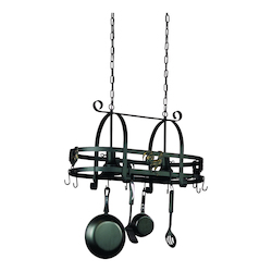 Two Light Black Pot Rack