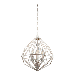 Four Light Textured Silver Up Chandelier