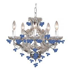 Six Light Polished Chrome Murano Crystal Glass Up Chandelier