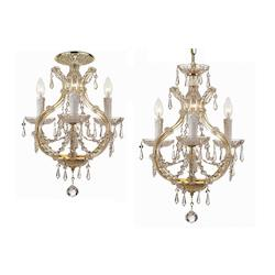Four Light Polished Chrome Italian Glass Up Chandelier