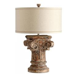 One Light Raw Cottong And White Liner Shade Limed Gracewood Table Lamp