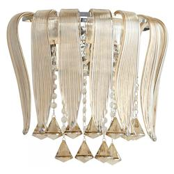 Chrome Olivia 2 Light Wall Sconce with Brown Shade