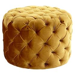 Gold Miss Muffet Round Wood and Foam Ottoman