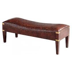 Brown Mechi 18.25 Inch Tall Wood and Leather Bench Made in India