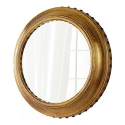 Brass 7 Inch Diameter Adonia Wood Mirror Made in India