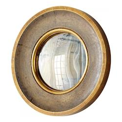 Brass 7 Inch Diameter Bronte Wood Mirror Made in India