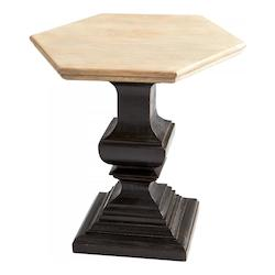 Light French Grey And Antique Black Phidias 26 Inch Long Wood Side Table Made in India