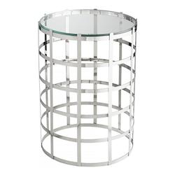 Chrome Ecliptic 17 Inch Diameter Stainless Steel and Glass Side Table Made in India