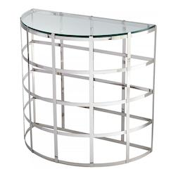 Stainless Steel Ecliptic 32.25 Inch Long Stainless Steel and Glass Console Table Made in India
