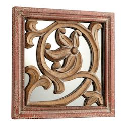 Antique Cherry 10 x 10 Vitis Square Wood Frame Mirror Made in India