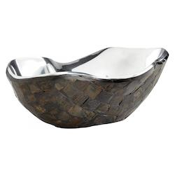 Nickel Ferrara 12 Inch Wide Aluminum and Horn Decorative Bowl Made in India
