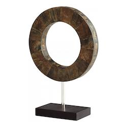 Brown And Stainless Steel Portal 13.75 Inch Tall Horn, Iron and Wood Sculpture Made in India