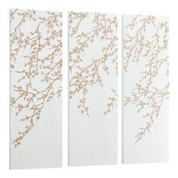 White And Gold Cherry Blossom 47.25 x 47.25 Wood Wall Art