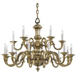 Eighteen Light Chandelier In Traditional Solid Cast Brass Williamsburg Style In