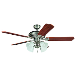 Four Light Nickel Ceiling Fan