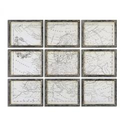 Uttermost Map of Europe Grid Vintage Art, S/9 - 344998