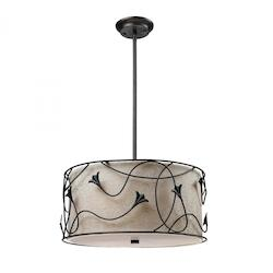 Three Light Dark Rust Drum Shade Pendant - ELK Lighting 20170/3