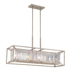 Aged Platinum Linares 4 Light 1 Tier Linear Chandelier