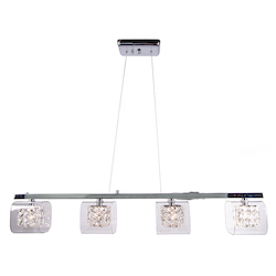 4 Light Island Pendant Light in Chrome Finish with Clear Glass and Insets - 345733